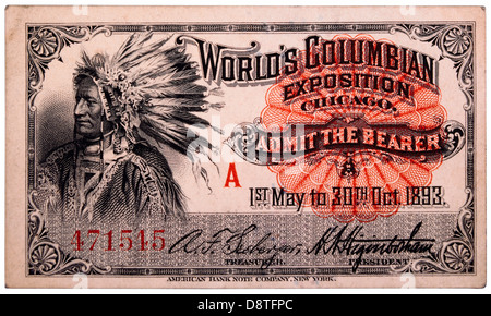 Native American Engraving, Ticket to World's Columbian Exposition, Chicago, Illinois, 1893 - Stock Photo
