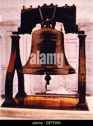 Liberty Bell, Independence Hall, Philadelphia, Pennsylvania, USA, by William Henry Jackson, Circa 1900 - Stock Photo