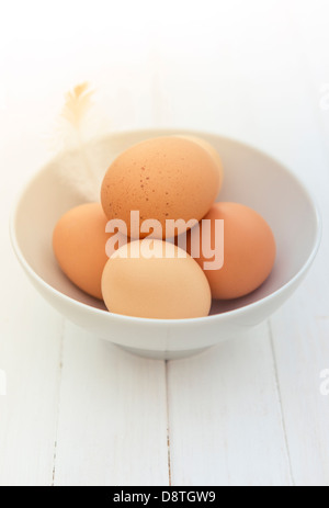 Freshly laid organic free range eggs in a bowl. - Stock Photo