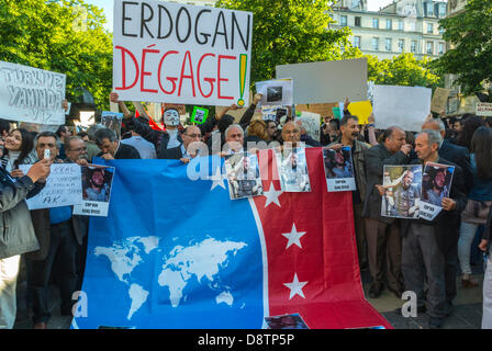 Paris, France. Crowd of Turkish People Protesting Against Turkish Government Crackdown in Recent Ankara Anti-Government - Stock Photo
