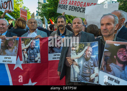 Paris, France. Crowd of Turkish Men Protesting Against Turkish Government Crackdown in Recent An-kara Anti-Government - Stock Photo