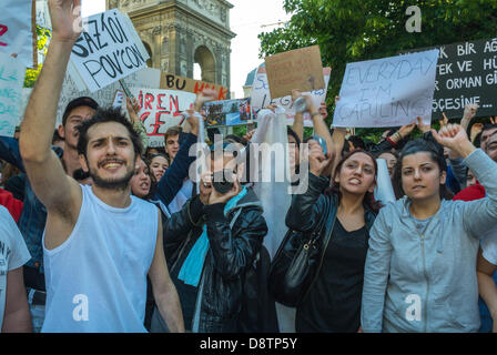 Paris, France. Crowd of Turkish People Protesting Against Turkish Government Crackdown in Recent An-kara Anti-Government - Stock Photo