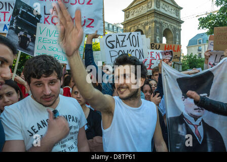 Paris, France.  Turkish People Protesting Against Turkish Government Crackdown in Recent An-kara Anti-Government - Stock Photo