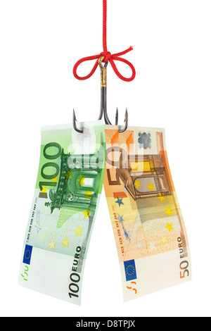 Fishing hook and money - Stock Photo