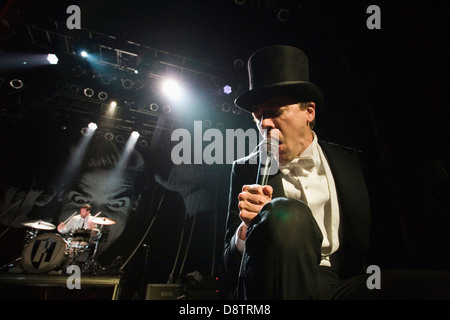 Pelle Almqvist and Christian Grahn of The Hives performing at the House of Blues in Anaheim, CA USA - Stock Photo
