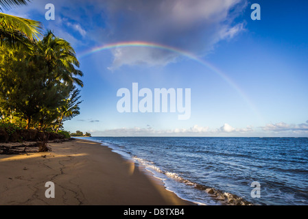 Double Rainbow on the north shore of Oahu Hawaii USA - Stock Photo