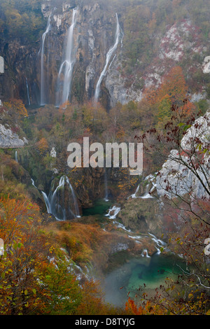 The Big waterfall in autumn colours, National Park Plitvice Lakes, Croatia - Stock Photo