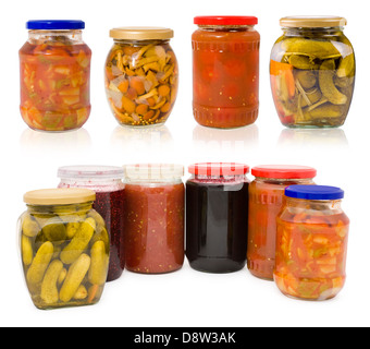 homemade pickles and preserves - set - Stock Photo