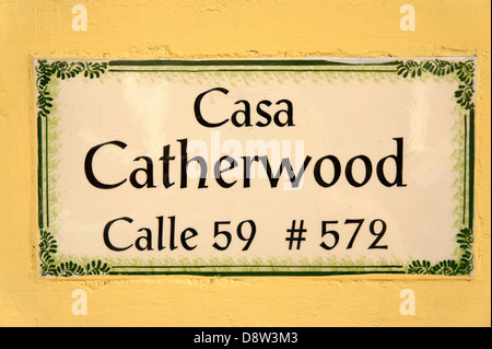 Sign on the exterior of the Casa Frederick Catherwood in Merida, Yucatan, Mexico - Stock Photo