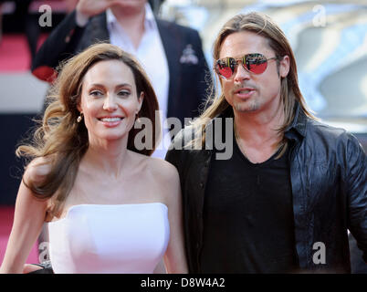 Berlin, Germany. 4th June 2013. The Hollywood actors Angelina Jolie and Brad Pitt attends the premiere of the film - Stock Photo
