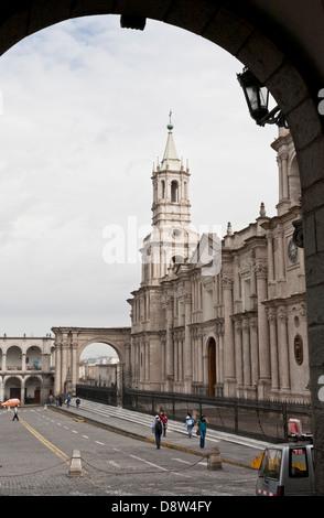 Plaza de Armas, Cathedral, Arequipa, Peru - Stock Photo