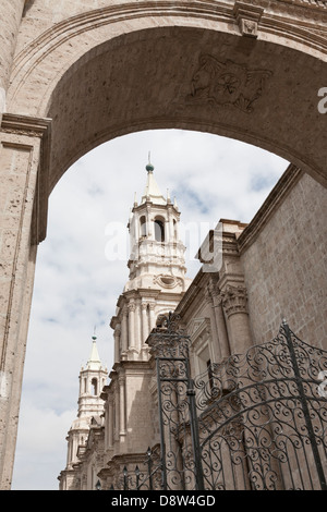 Plaza de Armas, Cathedral, Arequipa, Peru - Stock Photo