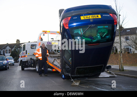 Crashed Car Upside Down In A Ditch Beside The Road