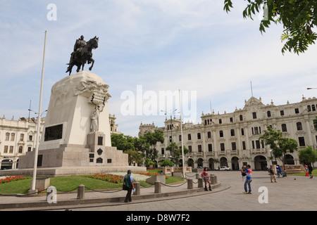 General Jose de San Martin Monument on Plaza San Martin, Lima, Peru - Stock Photo