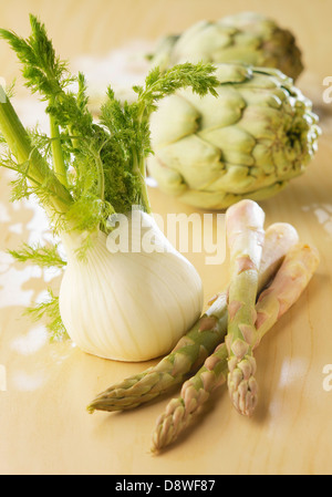 Artichokes,asparagus and fennel - Stock Photo
