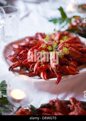 Boiled signal crayfish on table - Stock Photo