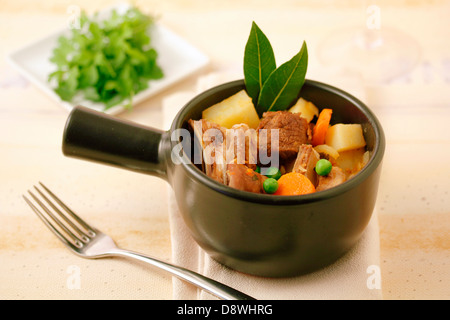 Stewed lamb with vegetables. Recipe available. - Stock Photo