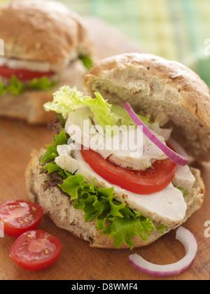 chicken turkey salad tomato tomatoes lettuce raw onion bread seeded seeds sandwich roll - Stock Photo