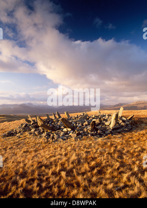 Bryn Cader Faner, Bronze Age round cairn with a ring of stone 'rays' projecting outwards, on remote moorland with the Snowdon range mountains beyond.