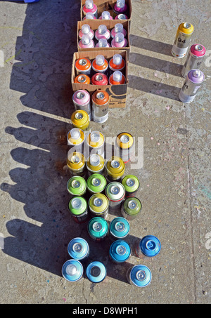 A graffiti writer's aerosol spray paint cans at 5 Pointz in Long Island City, Queens, New York - Stock Photo