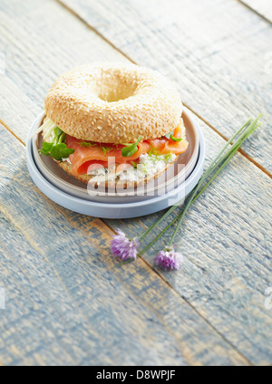 Smoked salmon and cream cheese bagel sandwich - Stock Photo