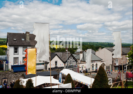 The centre of Hay-on-Wye, UK, the town famous for its bookshops and literary festival, on the border between England - Stock Photo