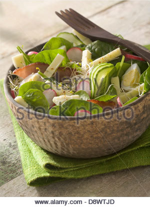 Spinach,radish,Morbier and cold meat salad - Stock Photo
