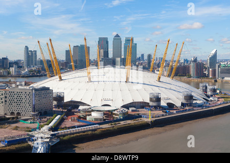 View over the millennium dome and canary wharf, London, England - Stock Photo
