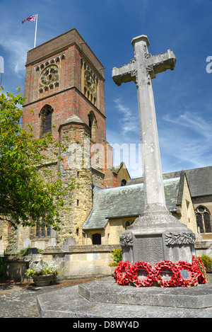 St Mary's Church and War Memorial Cross, Petworth, West Sussex, UK - Stock Photo