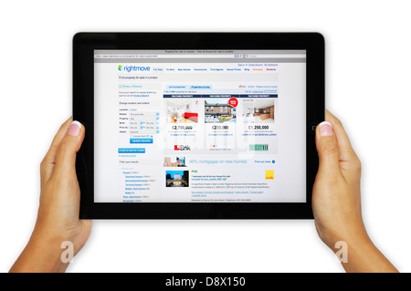 Rightmove online property search website on iPad - London - Stock Photo
