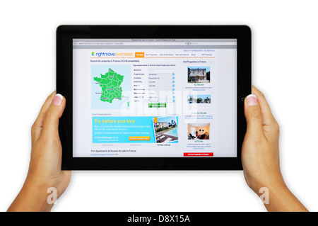 Rightmove online property search website on iPad - France - Stock Photo