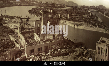 Photo of the aftermath of the  Hiroshima Peace Memorial (A-Bomb Dome) after the devastating nuclear detonation in - Stock Photo