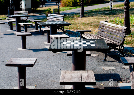 Chess tables and benches - Stock Photo