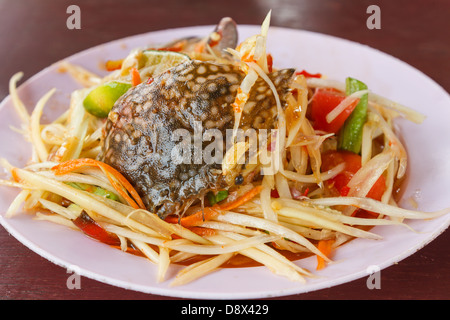 papaya salad with horse crab is food for eating of Thai people - Stock Photo