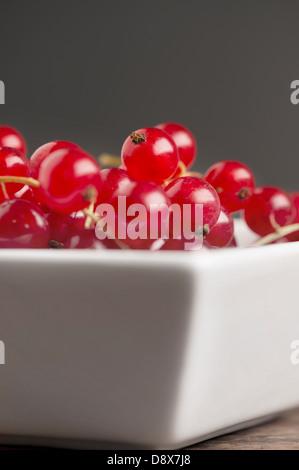 Close-up of a bowl of red currants - Stock Photo