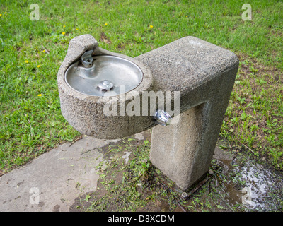 public drinking water fountain in the park stock photo