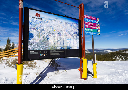 Trail map, Mammoth Mountain Ski Area, Mammoth Lakes, California USA - Stock Photo