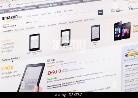 Amazone Kindle Home Page Website or web page on a laptop screen or computer monitor - Stock Photo