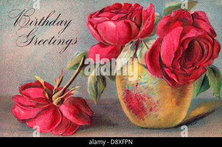 Birthday Greetings Card with roses Photo Royalty Free – Birthday Greetings with Roses