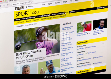 BBC Sport Golf News Homepage Website or web page on a laptop screen or computer monitor - Stock Photo