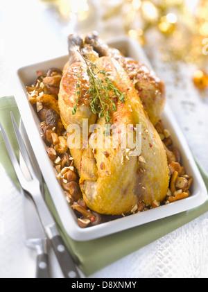 Stuffed guinea-fowl with wild mushrooms and hazelnuts - Stock Photo