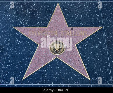 Terrazzo star for artist Sylvester Stallone, category Film, Drumming of Fame, Hollywood boulevard, Hollywood, Los - Stock Photo