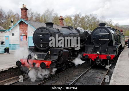 Black 5 Locomotive 44871 at Grosmont Railway Station North Yorkshire England UK United Kingdom GB Great Britain - Stock Photo