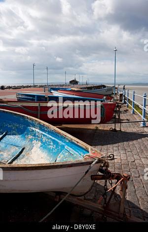 Fishing boats on Stone Jetty Morecambe Lancashire England UK United Kingdom GB Great Britain - Stock Photo