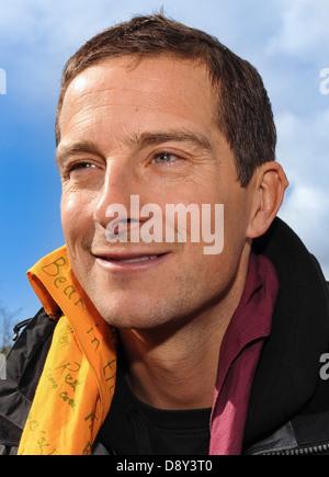 Bear Grylls portrait from a UK press event - Stock Photo