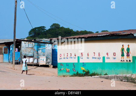 street scene on prospect hill, cape coast, ghana, africa - Stock Photo