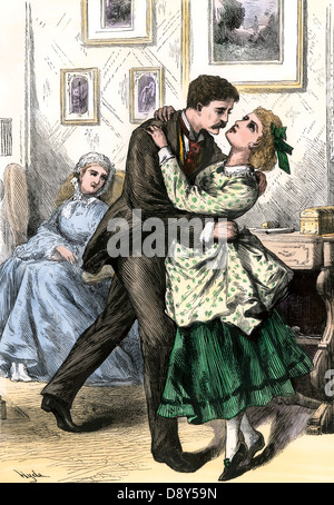Man holding a young woman in his arms, 1880s. Hand-colored woodcut