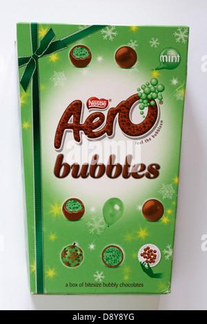 Box of Nestle Aero mint bubbles chocolates isolated on white background - Stock Photo