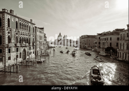 view of Grand Canal taken from Accademia Bridge, Venice - Stock Photo