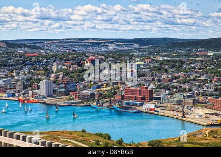 View of Saint John's Harbour from Signal Hill, Newfoundland, Canada - Stock Photo